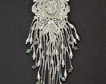 "Pearl Beaded Sequin Applique, Bridal Applique, 8-3/4"" x 2-5/8"", ROI-44580"