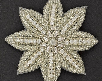 Rhinestone Beaded Applique, Beaded patch, Bridal Applique, 3-1/2'' D, FF-1691