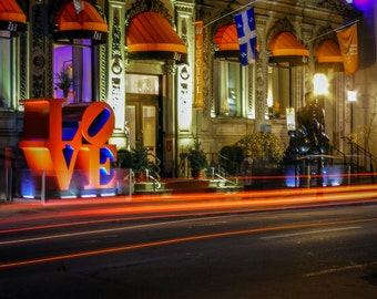 Love Fine Art Photography: Robert Indiana Love Sculture Photograph with Light Trails in Old Montreal