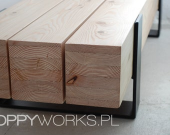 Handmade contemporary coffee table/ bench. Solid larch timber.