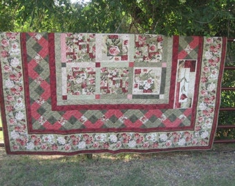 Blossoms & Garlands greens and pinks large quilt