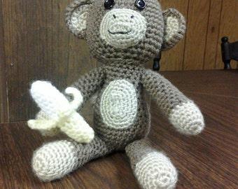 Crocheted Stuffed Amigurumi Monkey with Banana