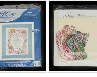 """Temporary Price Reduction! Vintage Counted Cross-Stitch """"Love is Kind"""" Sampler Kit Mint in Package Copyright Date 1994 (Inventory #M2804)"""