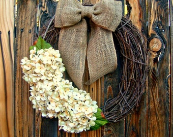 Hydrangea Wreath -Year Round Wreath -  Choose Your Color Hydrangea - Door Wreath - Wreaths - Grapevine Wreath - Rustic Wreath Burlap bow