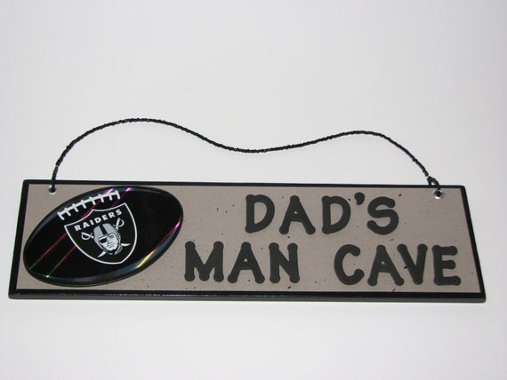 Personalized Nfl Man Cave Signs : Nfl oakland raiders football dad s man cave sign by