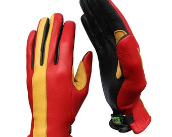 Brazimoto Rapido Red Gold Deerskin Scooter Motorcycle Gloves