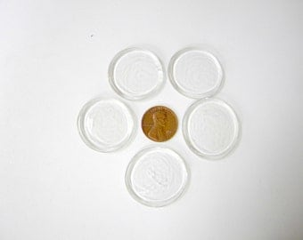 5 Clear Glass Wafers, Fairly Symmetrical, Nice Flat Angel Heads   Victory 0407