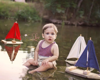 Set of Three Toy/Photography Prop Sailboats