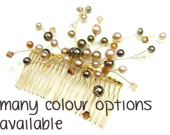 Crystal & Pear Wedding Hair Comb, Bridal Comb, Bridesmaid Comb, Bridal Hair Accessory, Bridesmaid Hair Accessory, Swarovski elements WILLOW