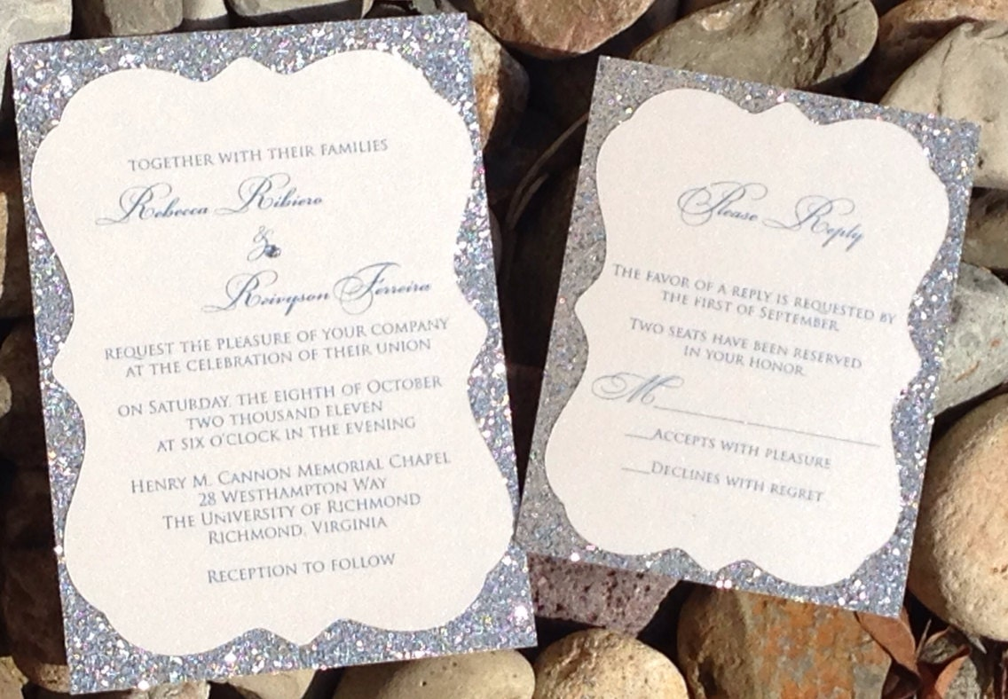 Silver Wedding Invitations: Silver Glitter Wedding Invitation Silver Wedding