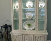 Shabby/Cottage/Coastal white & aqua Vintage China Cabinet