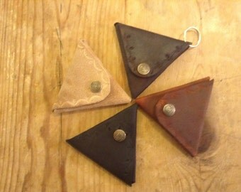 Leather Coin Wallet, Stitchless Triangular with a snap closure