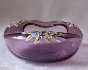Vintage Amethyst Orb-Shaped Glass Ashtray with Hand Painted Floral Design