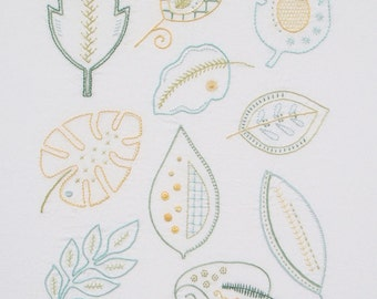 Mod Foliage modern hand embroidery pattern - modern embroidery PDF pattern, digital download