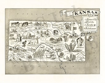 Pictorial Map of Kansas - fun illustration of vintage state map