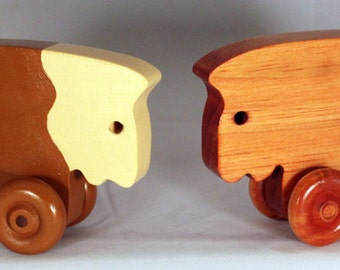 """Wooden Toy """"Moo Cow"""" Child Safe, Handcrafted from Reclaimed Wood, Eco-friendly by GiggleTree Toys"""