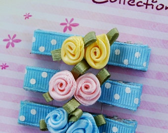 Set of 3 hair clips - Blue with white polka dots and satin roses  -  For girls of any age.
