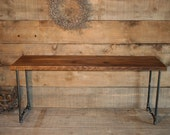Reclaimed Urban Wood Media Stand - Industrial Piping Leg Base - Beeswax Finish - FAST Shipping