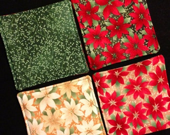 Seasonal poinsettias reversible quilted Christmas coasters