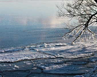 Crystalline Lake / Tranquil Winter Seascape w/Floating Ice, Icicles, & Cloud Reflections / High Res Print / Fine Art Photography