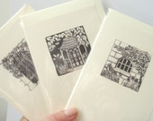 3 Printed cards, Doors, Windows, Gardens, Pen and Ink, Garden Designs, Illustrations - black and white,