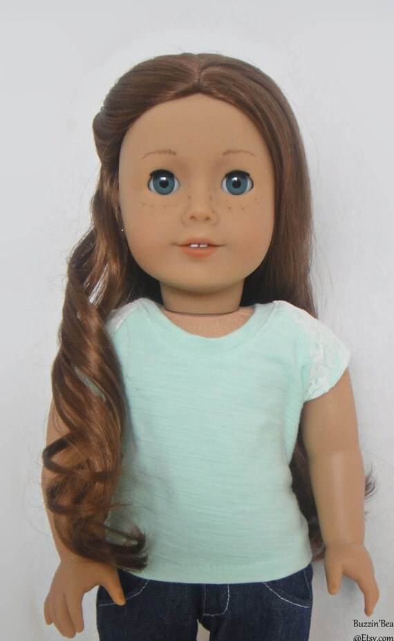 Mint Green Shirt with Lace Sleeves - American Girl Doll Clothes
