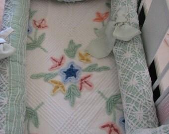 Sale Custom Crib Set 6 piece Seafoam Wedding Ring Vintage Chenille