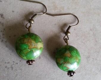 Gemstone Earrings Apple Green Mosaic Turquoise