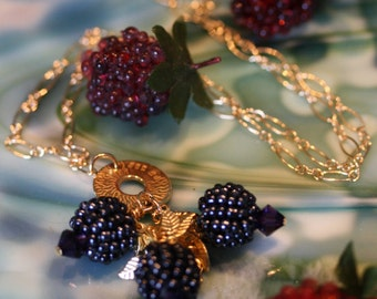 Scrumptious black raspberry necklace, mmmmm.