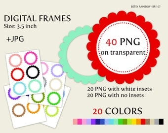 Round digital frame clip art in 20 colors PNG and JPGs, scalloped digital frames - BR 107