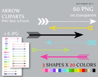 Arrow cliparts in 20 colors 60 PNG and 6 JPGs, arrow clip art, tribal clipart - BR 111
