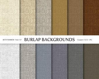 Burlap Digital Paper Pack, 12 burlap textured papers - BR 157