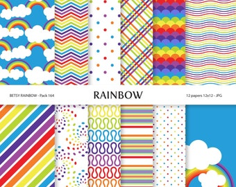 Rainbow Digital Paper Pack, 12 rainbow digital papers - BR 164