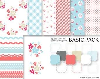 Shabby Chic Digital Paper Pack, Clipart Paper Pack, scrapbook paper, scrapbook clip art  - BR 173