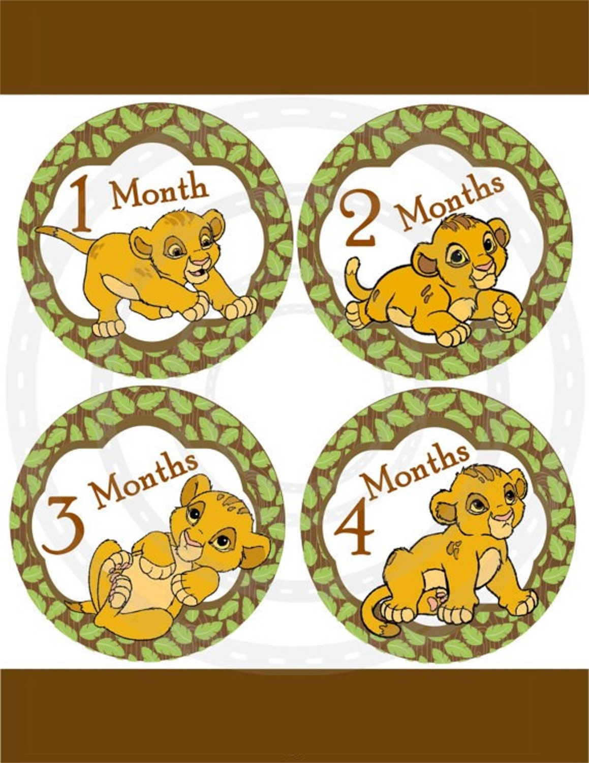 Monthly Baby milestone Sticker 13 Lion King by ...