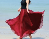Dark Red Chiffon skirt Maxi Skirt Long Skirt Maxi Dress Silk chiffon dress Women Silk Skirt Beach Skirt plus size dress Pleat skirt - fashionclothingshow