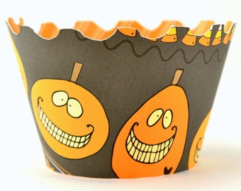 Smiling Pumpkins Cupcake Wrappers