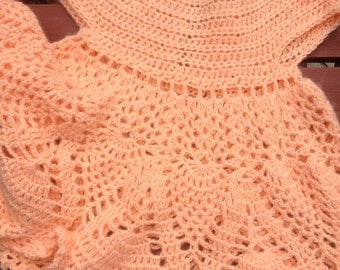 Peach Crochet Dress, Crochet Dress for Girls