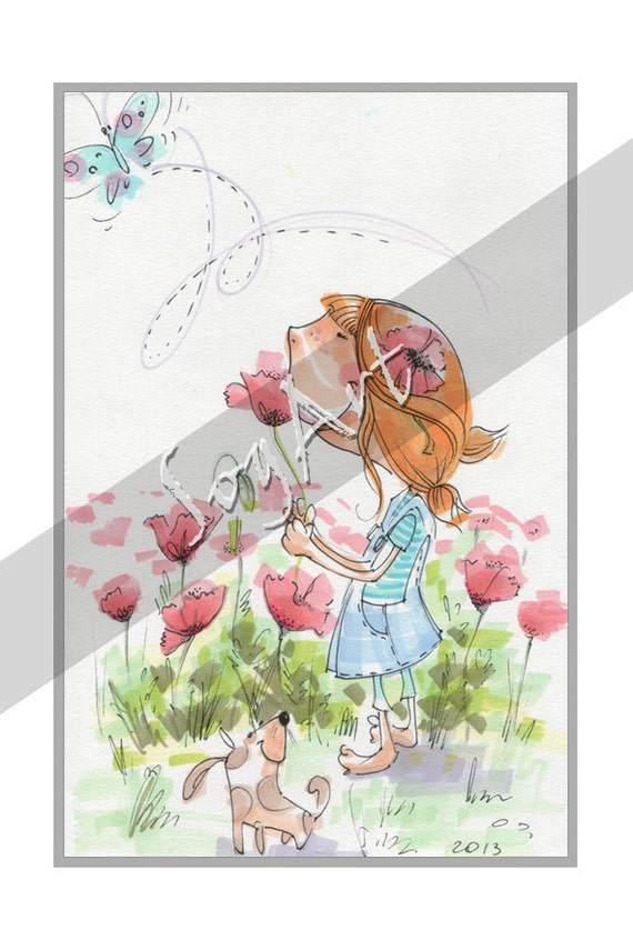 Children's Wall Art Original Hand Made - Girl With a Flower