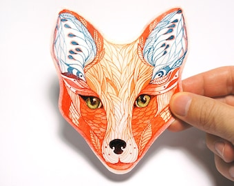 Red Fox face animal sticker // SALE 3 for 2 // 100% waterproof vinyl label.