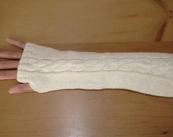 Multi-Way Fingerless Mittens /  Arm Warmers - 100% Merino Wool - Cream