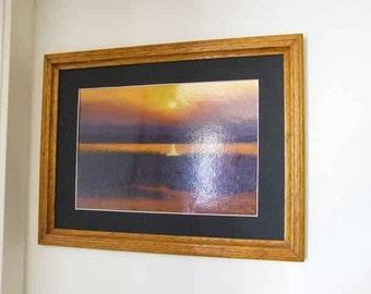 Lake at sunset, pastel painting