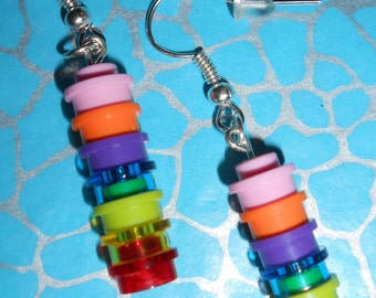 Hand Made MULTICOLOURED Brick Dangle Earrings using LEGO bricks NEW Ideal Gift