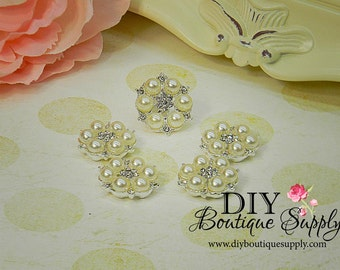 Pearl and Rhinestone button Flatback Metal Embellishment flower Bow centers Baby Headbands invitations crystal bouquet  5 pcs 23mm 064023