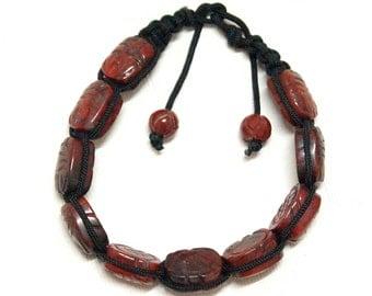 Hand carved red Jasper, shamballa bracelet