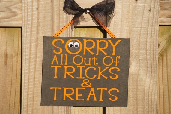 Decorating Ideas > Door Hanger Halloween All Out Of Tricks & By  ~ 160801_Halloween Door Tricks