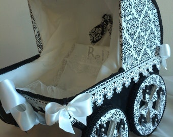 The Annastyn Black And White Damask Baby Carriage / Baby Shower Centerpiece / Unique Baby Shower Decor / 14 Inch Baby Carriage