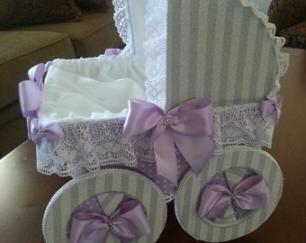 The Lindsey Gray And Lavender Baby Carriage Centerpiece / Unique Shower Centerpiece
