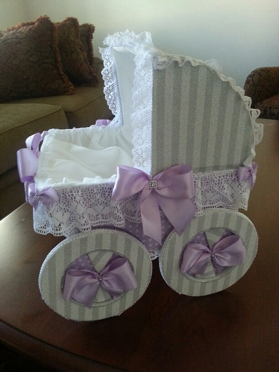 The lindsey gray and lavender baby carriage centerpiece for Baby carriage decoration