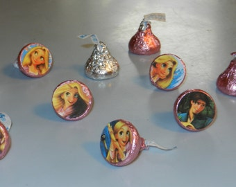 Princess Rapunzel Tangled Hershey Kiss Stickers Labels Goody Bag Birthday party thank you treats Disney Inspired